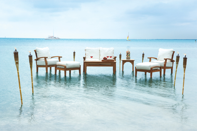 Teak furniture in water